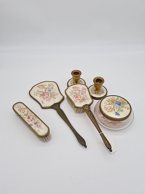 6 piece vintage dressing table set