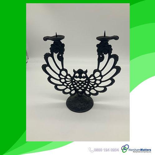 Black metal owl candle holder