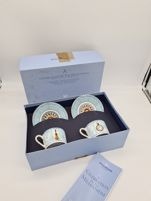 Wedgwood celebration millennium boxed cups and saucers (box damaged)