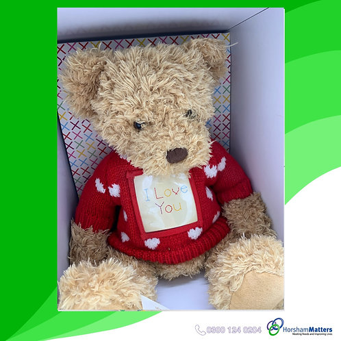 Thread Ted message bear Boxed with tag Hobbeycraft