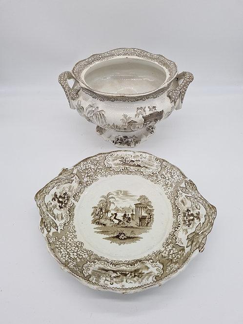 Decorative terrine and plate (crack to terrine)