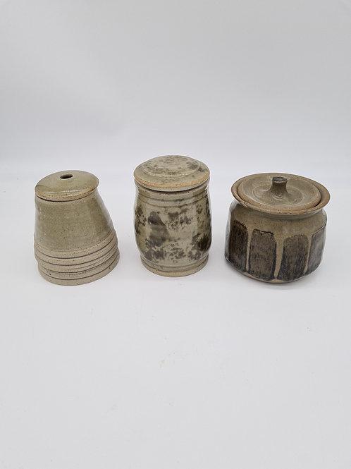 3 x stoneware jars with lids