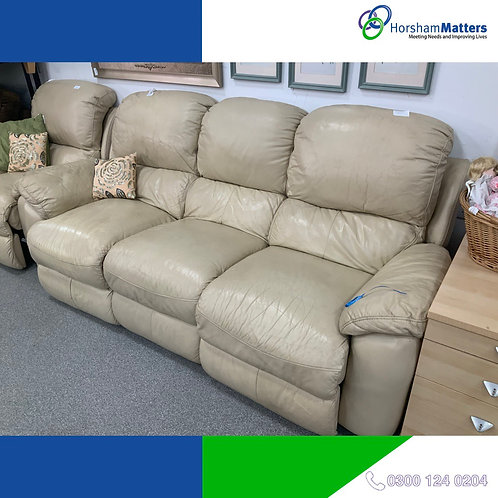 Cream leather 3 seater electric recliner sofa