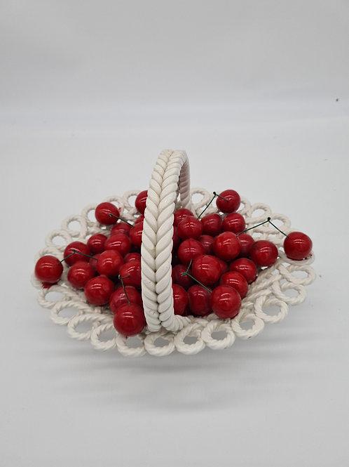 Ceramic lattice bowl with ceramic cherries