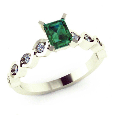 Emerald Twist Engagement Ring