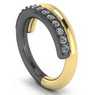 24K & Sterling Diamond Fashion Ring
