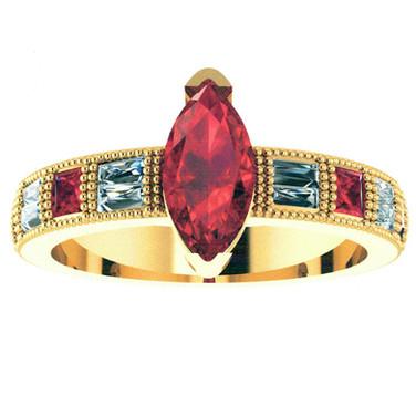 Marquise Ruby Milgrain Ring