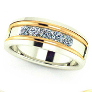 Men's Two-Tone Channel Set Band