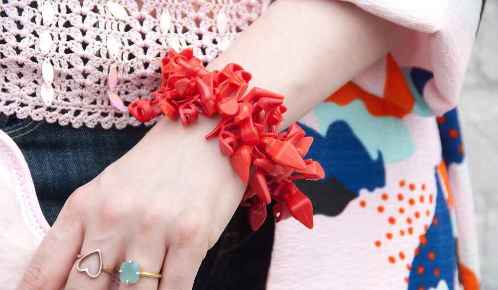 Sara wears Sara Gallo Jewelry Red Lipstick Barbie Shoe Bracelet