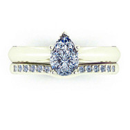 Pear Solitaire with Bead-set Tracer Wedding Band