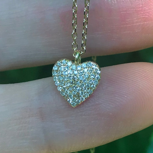 Diamond Heart Necklace in 14K Yellow Gold