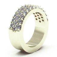 3-Row Diamond Pave Band Ring