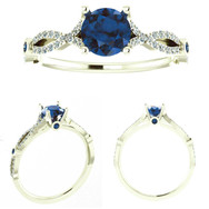 Sapphire Engagement Ring with Twisted Shank