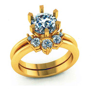 6-Prong Engagment Ring with Diamond Tracer Band