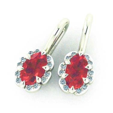 Ruby Earrings with Diamond halos