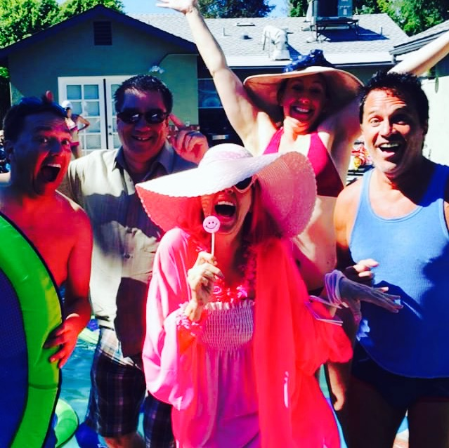 The Pink Lady of Hollywood makes a pinktastic splash at her pool party!