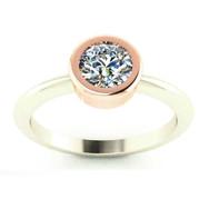 Rose Gold Bezel-set Diamond Solitare Ring