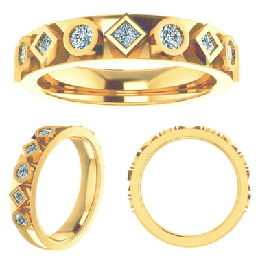 Alternating Princess-cut and Round Bezel-set Diamond Wedding Band
