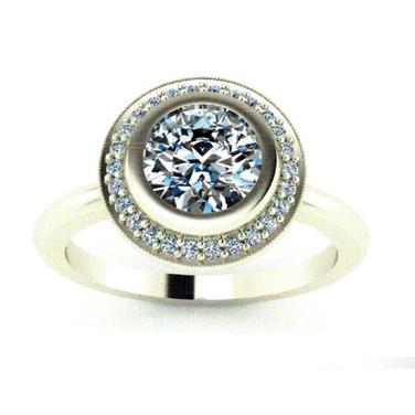 Bezel-set Diamond Halo Engagement Ring