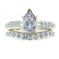 Pear Diamond Engagement Ring with Curved Diamond Wedding Band