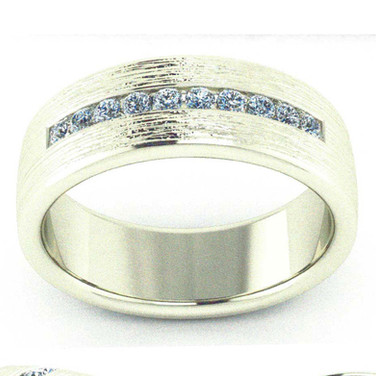 Men's Textured Channel Band Ring