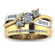Bead-set diamond, wide tracer wedding band