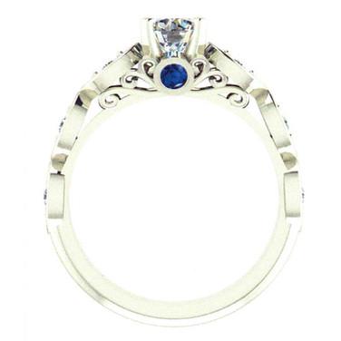 Peek-a-Boo Sapphire, Diamond Engagement Ring