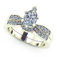 Pear Diamond Engagement Ring with Tracer Wedding Band