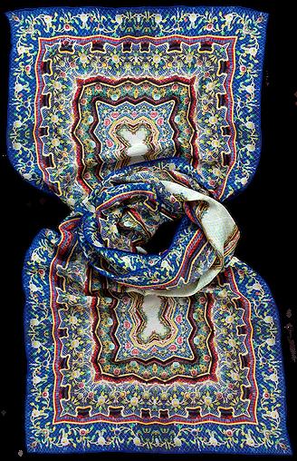 Silk chiffon scarf Wat Pho Blue