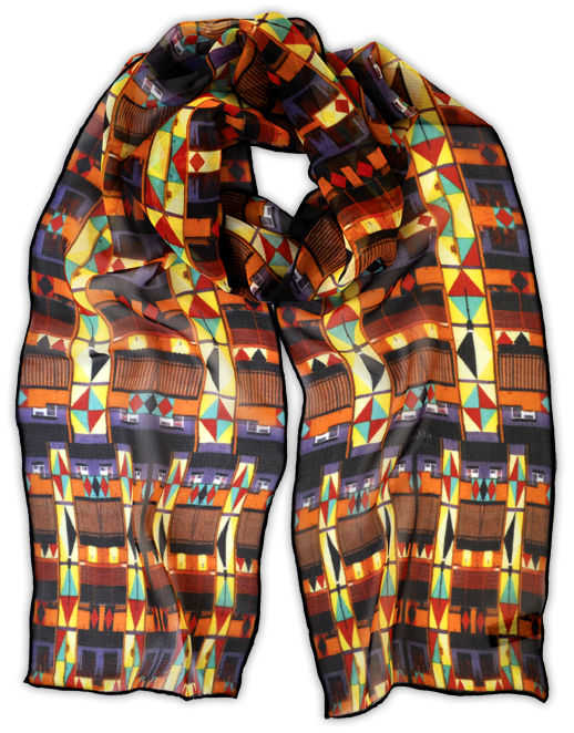Silk chiffon scarf Diamonds