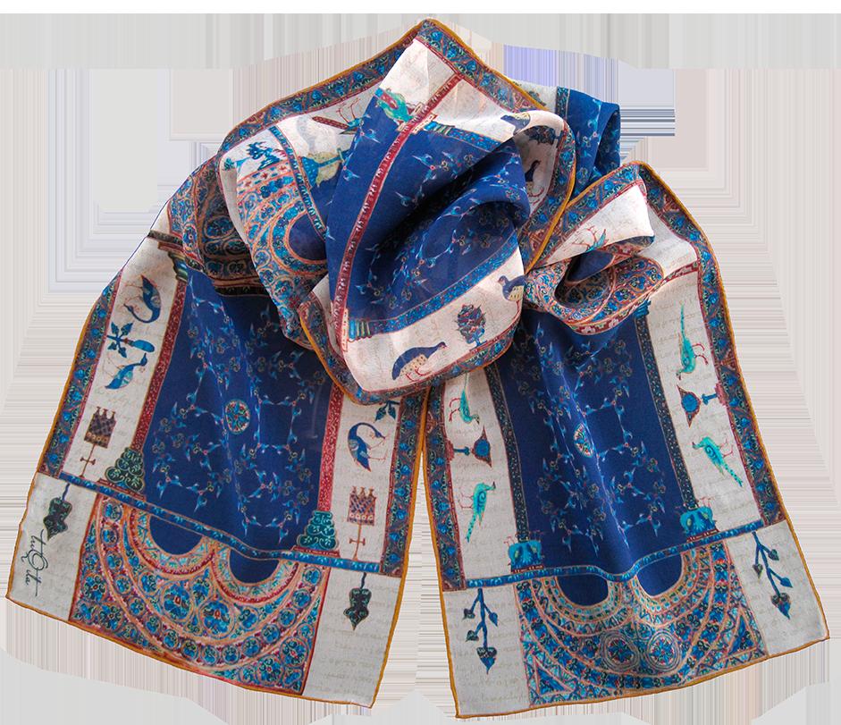 Silk chiffon scarf Berat Codex Blue