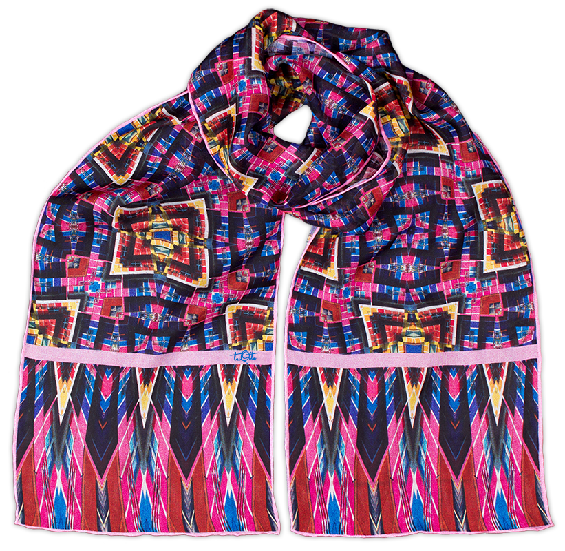Silk chiffon scarf Pink Over