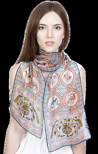 Silk-chiffon scarf Butrint Mosaics