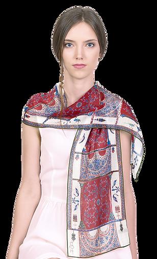 Silk-chiffon scarf Berat Codex Red