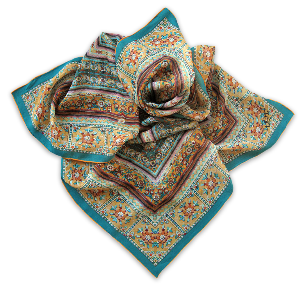 Silk satin scarf Wat Pho Yellow