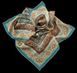 Silk satin scarf Wat Pho Yellow