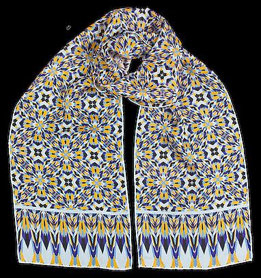 Silk-chiffon scarf Cubes