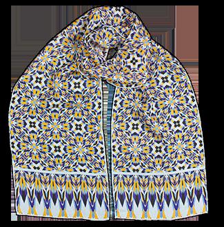 Silk chiffon scarf Cubes