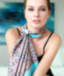 Silk satin scarf Blue Eyes