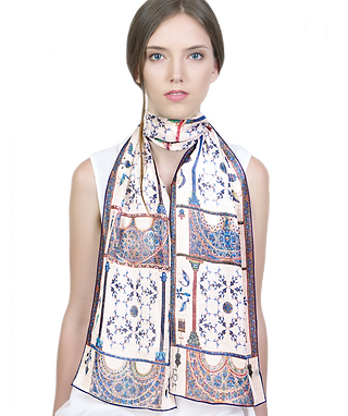 Silk-chiffon scarf Berat Codex