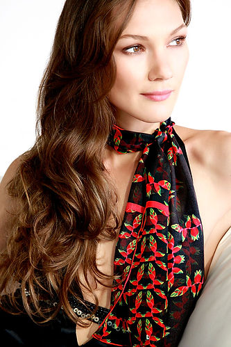 Silk chiffon scarf Birds of Paradise