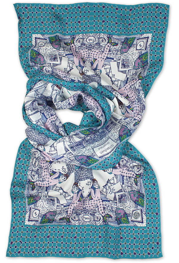 Silk chiffon scarf Pisces