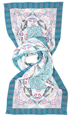 Silk chiffon scarf Aquarius