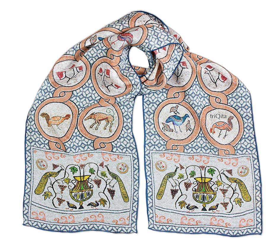 Silk chiffon scarf Butrint Mosaics