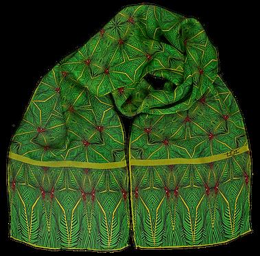 Silk chiffon scarf Fern