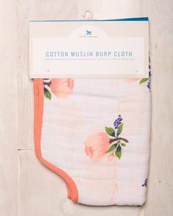 COTTON MUSLIN BURP CLOTH - WATERCOLOR ROSE 1