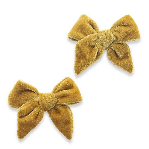 Brass Velvet Bow Clip