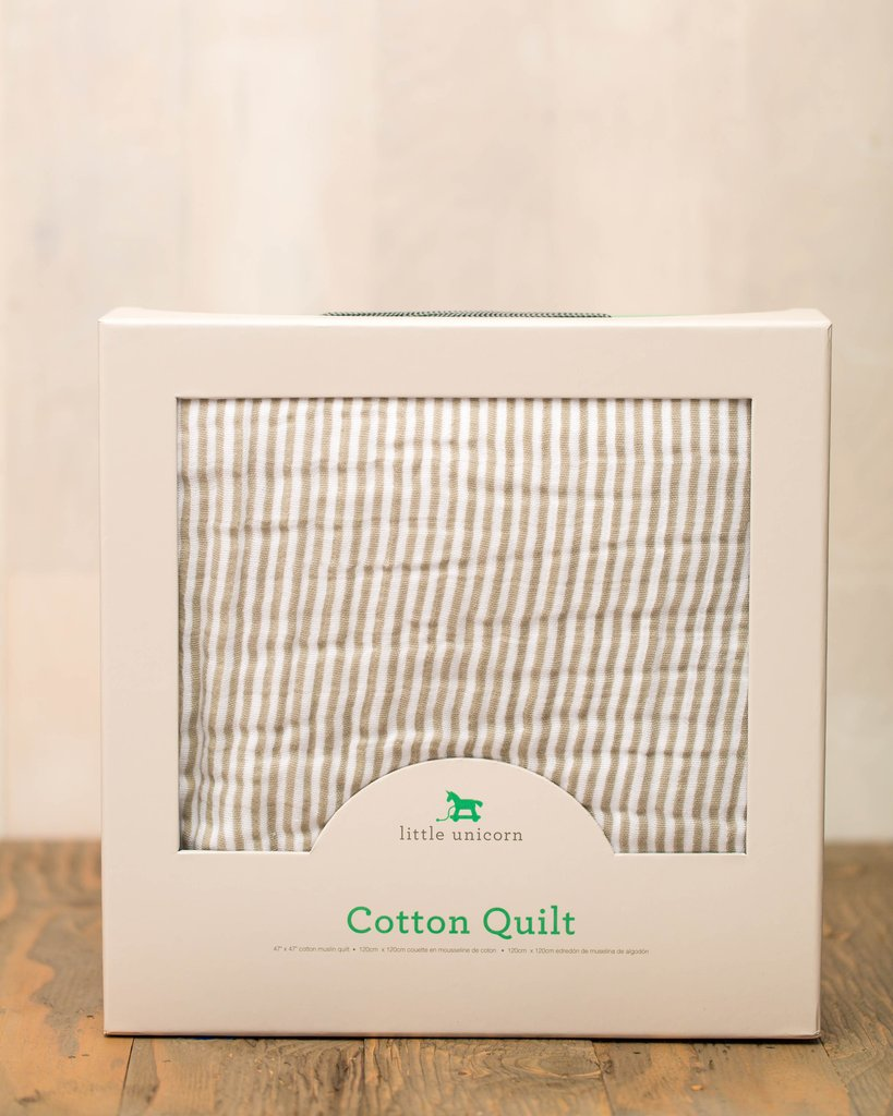 COTTON MUSLIN QUILT - GREY STRIPE 1