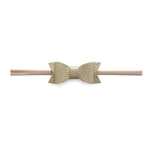Metallic Gold Leather Bow