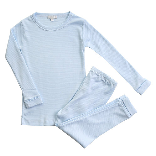 Mini Stripe Blue Long Pajamas